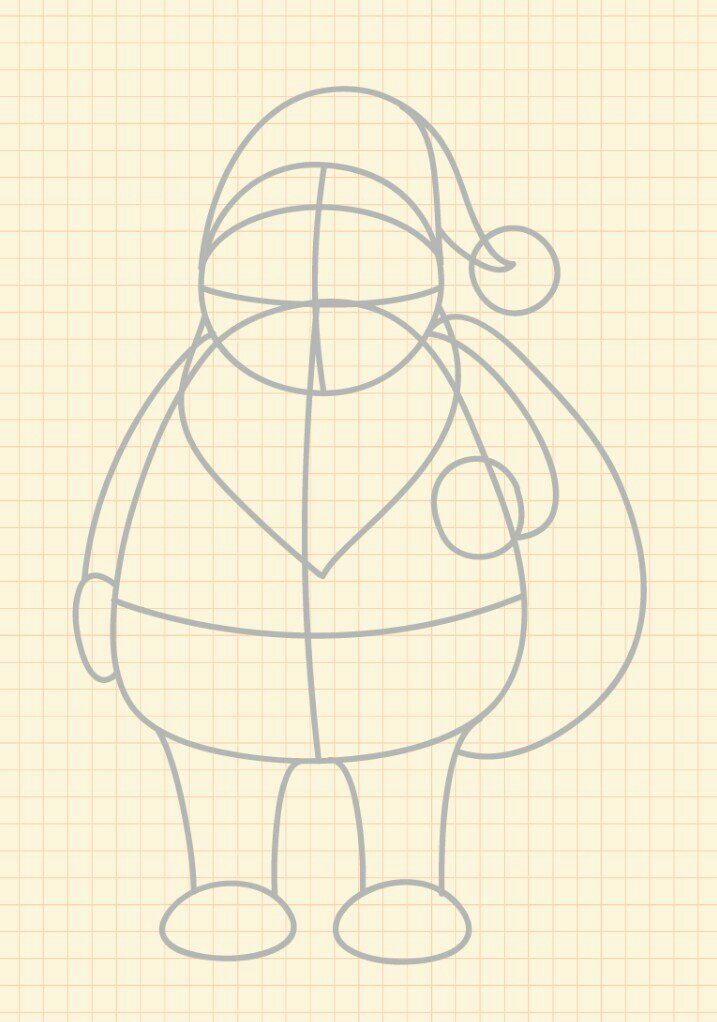 How to draw Santa Claus step 2