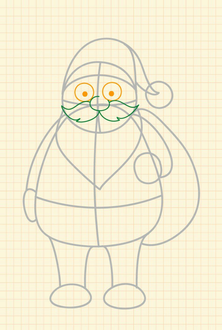 How to draw Santa Claus step 5