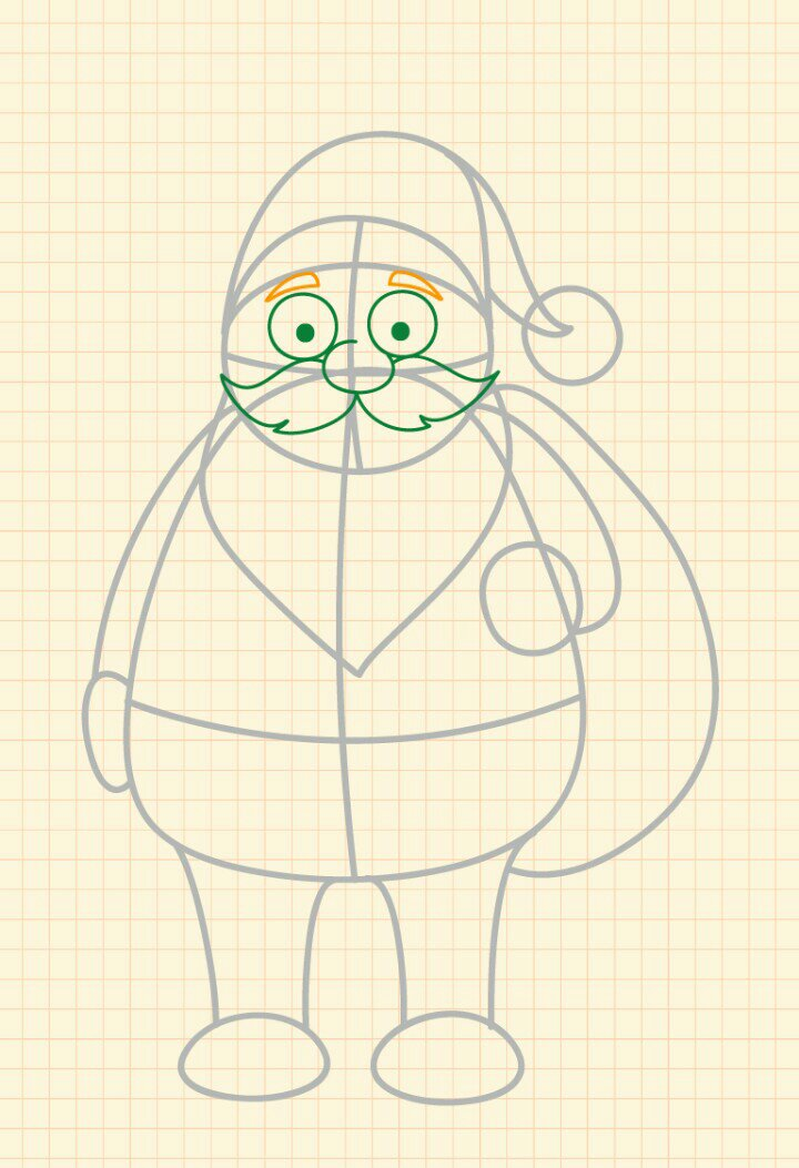 How to draw Santa Claus step 6