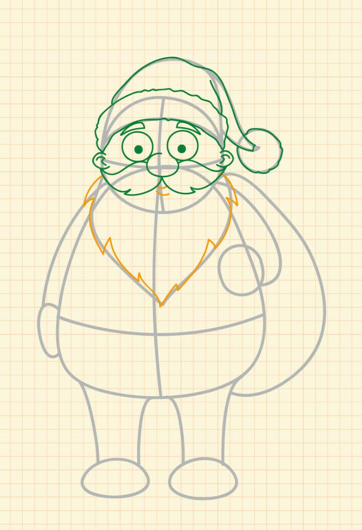 How to draw Santa Claus step 11