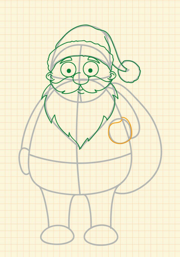 How to draw Santa Claus step 12