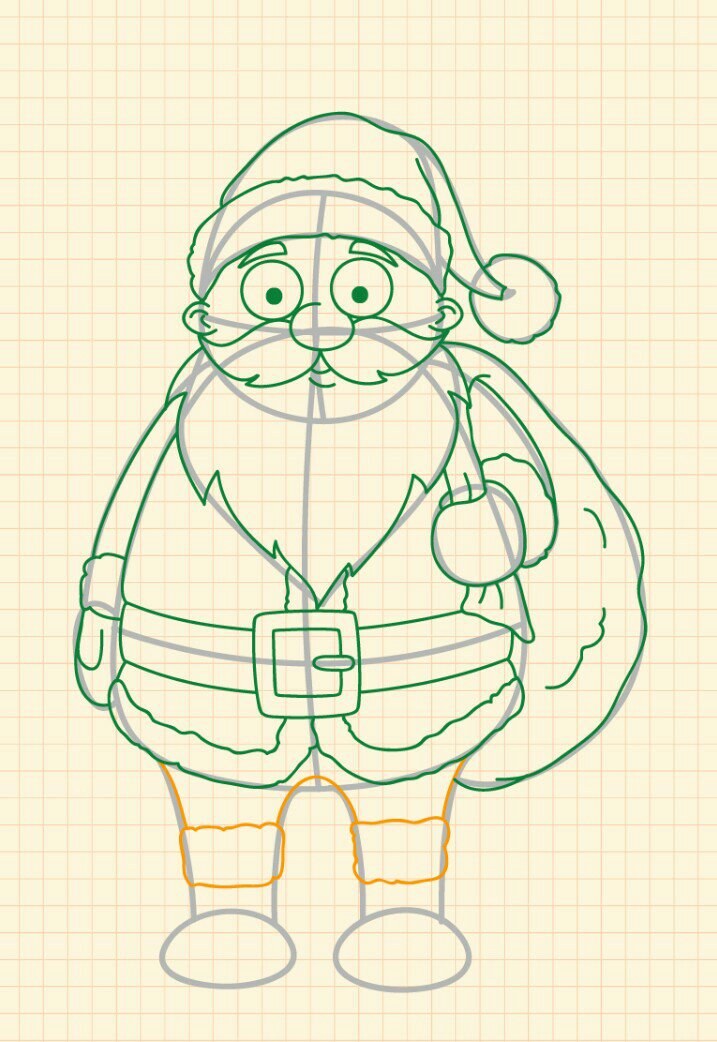 How to draw Santa Claus step 16
