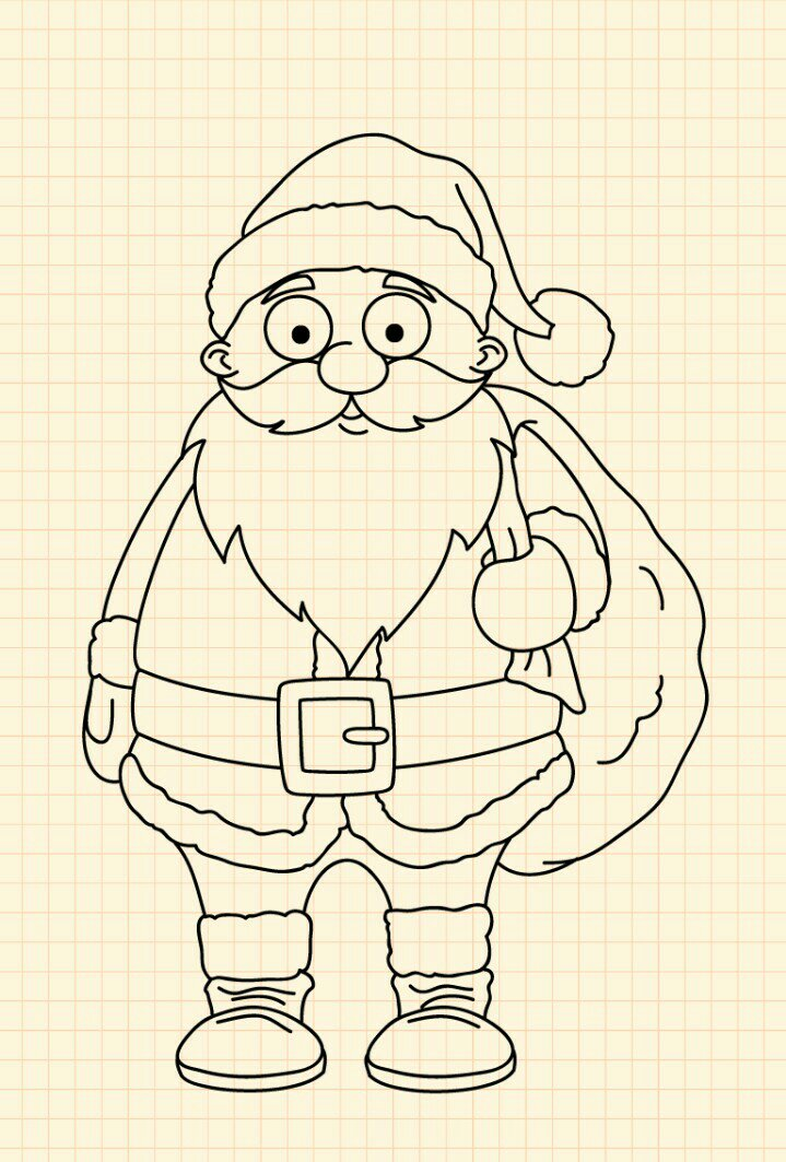 How to draw Santa Claus step 18