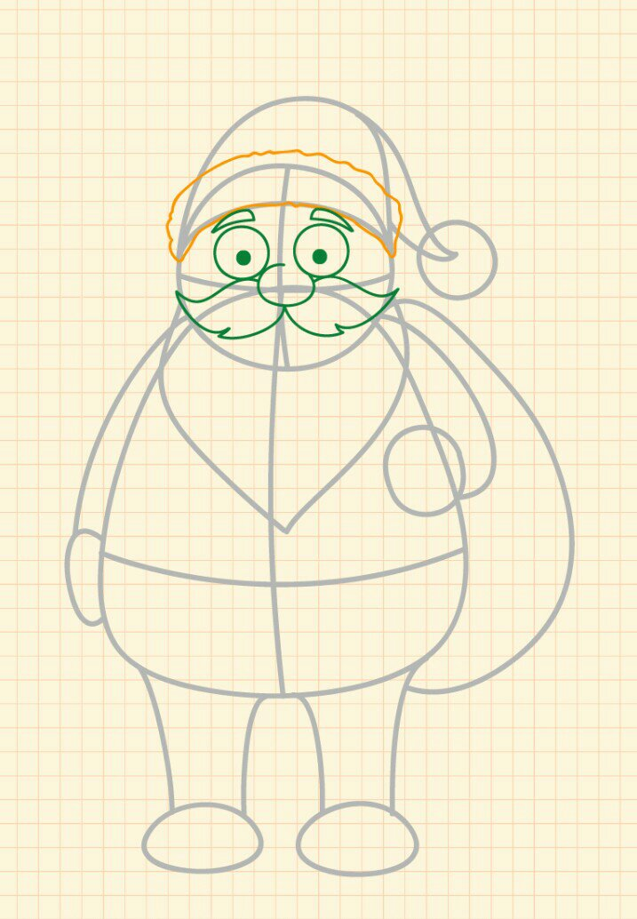 How to draw Santa Claus step 7