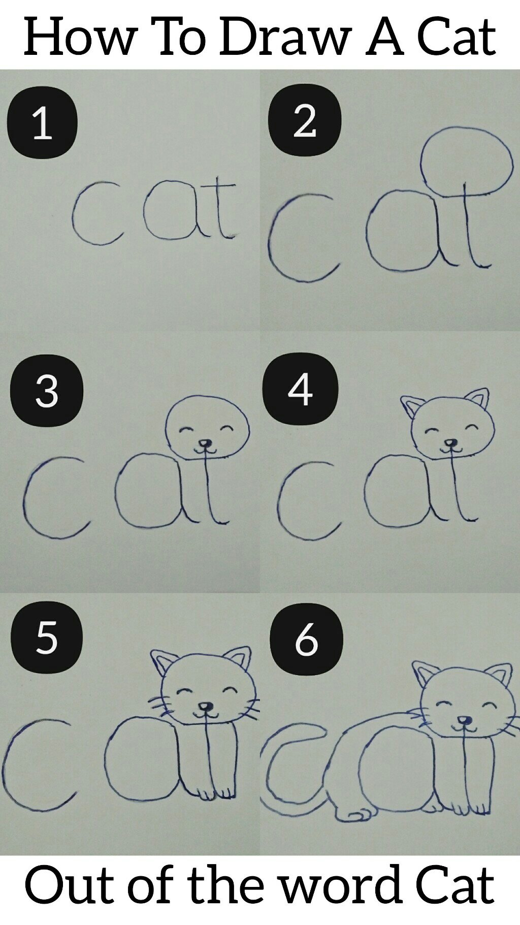 How to draw a cat put of the word cat